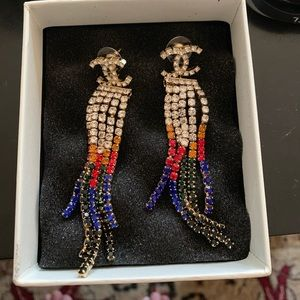 Authentic Chanel  tassel crystal earrings 2019